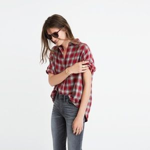 Madewell Button Back Courier in Fairfax Plaid